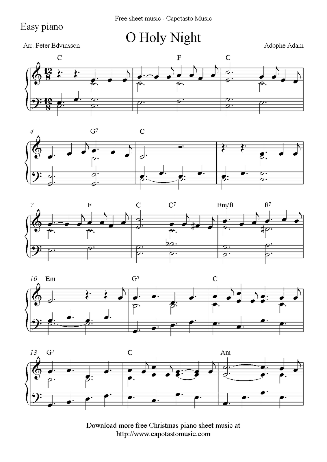 Easy Piano Solo Arrangementpeter Edvinsson Of The Christmas - Free Printable Christmas Music Sheets Piano