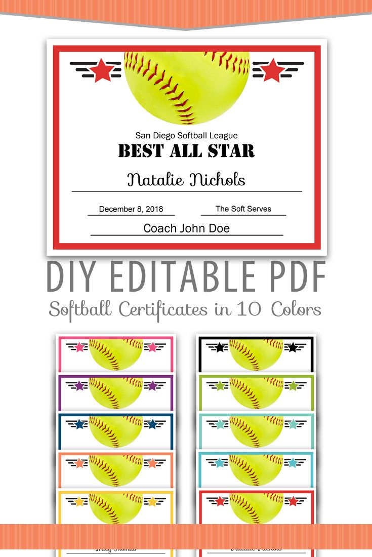 Editable Pdf Sports Team Softball Certificate Award Template In 10 - Free Printable Softball Award Certificates