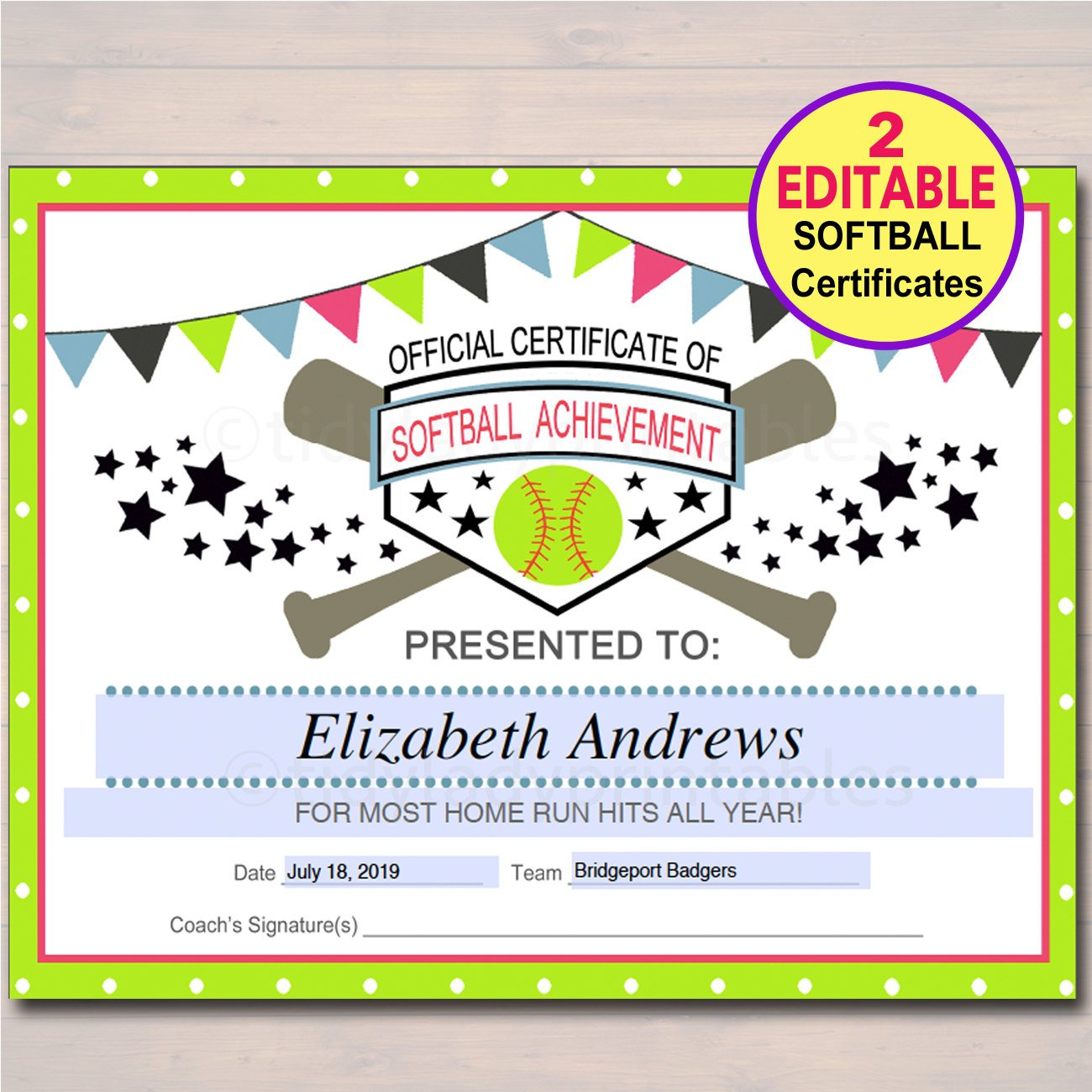 Editable Softball Certificates Instant Download Softball | Etsy - Free Printable Softball Award Certificates