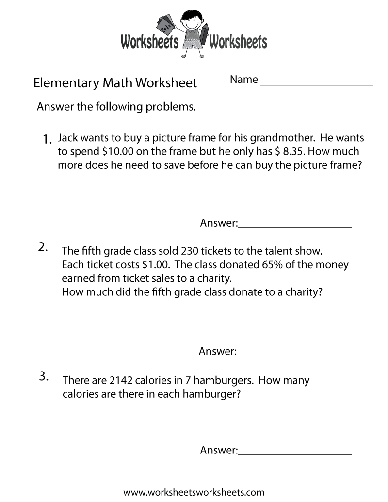Elementary Math Word Problems Worksheet - Free Printable Educational - Free Printable Math Word Problems