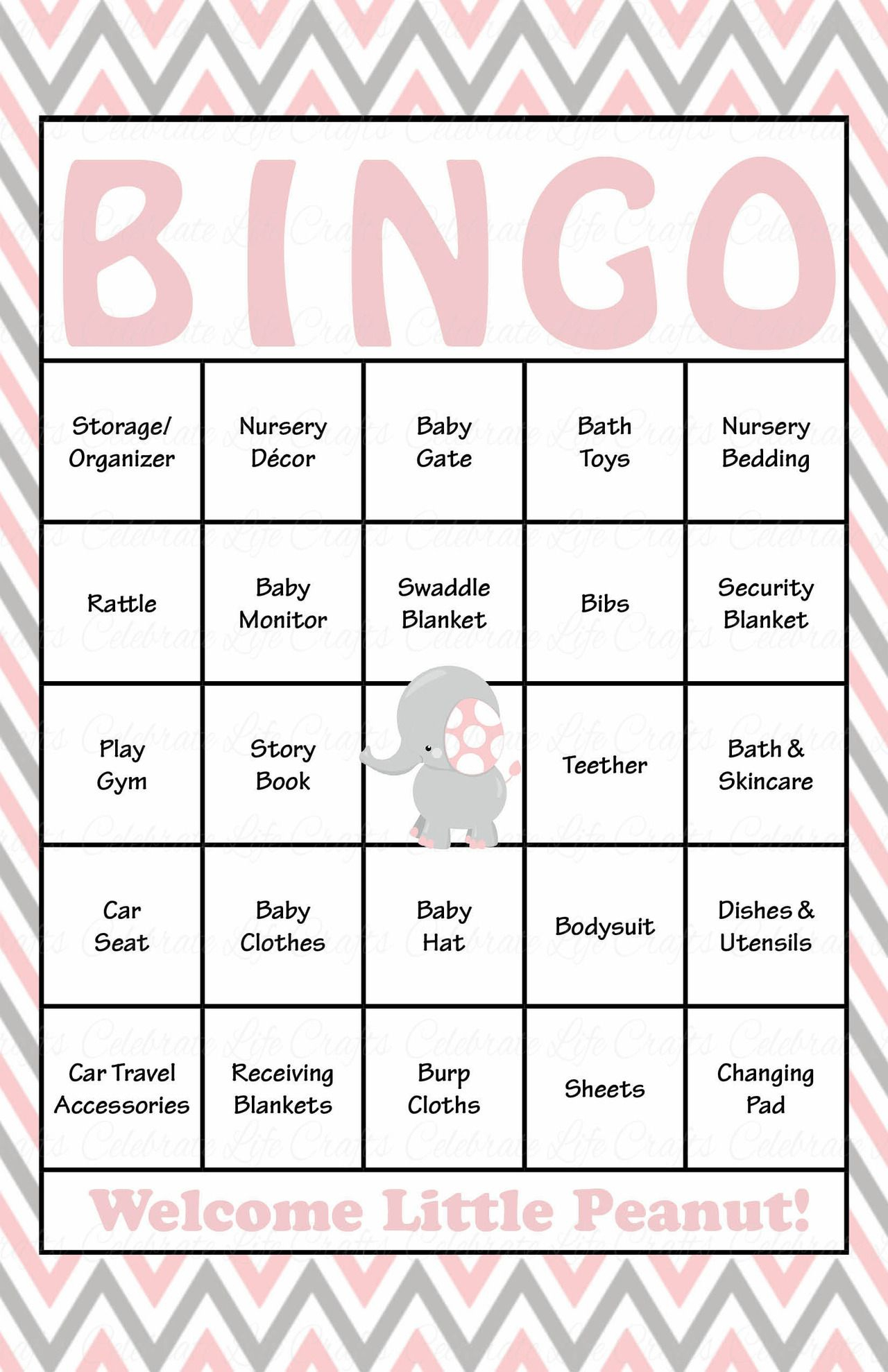 Elephant Baby Bingo Cards - Printable Download - Prefilled - Baby - Free Printable Baby Shower Bingo Cards Pdf
