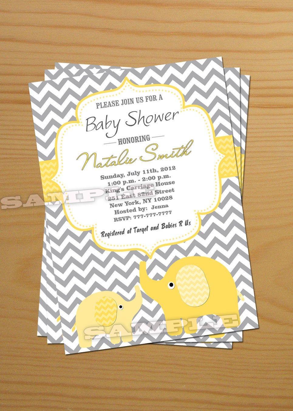 Elephant Baby Shower Invitation Gender Neutral Baby Shower - Free Printable Elephant Baby Shower Invitations