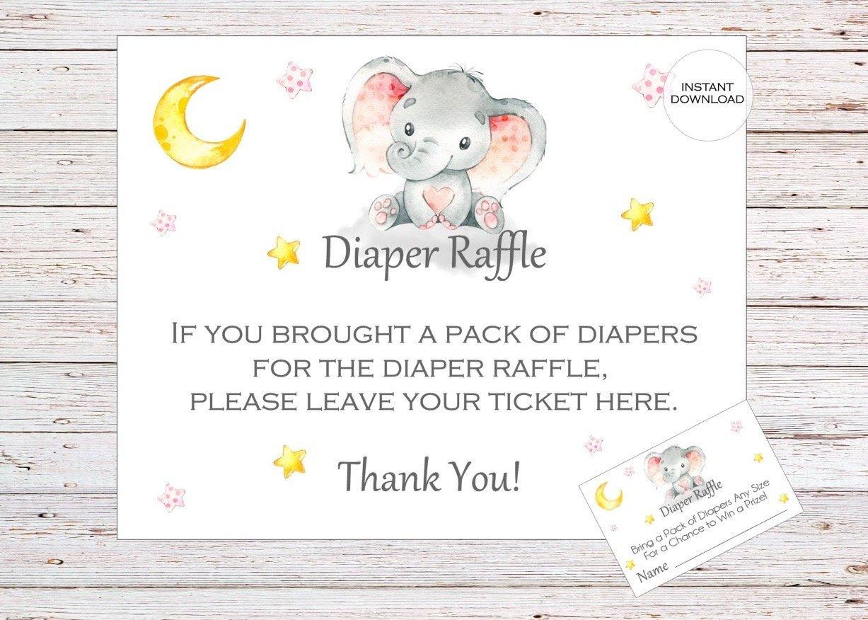 Elephant Printable Diaper Raffle Ticket Elephant Baby Shower | Etsy - Free Printable Diaper Raffle Tickets Elephant