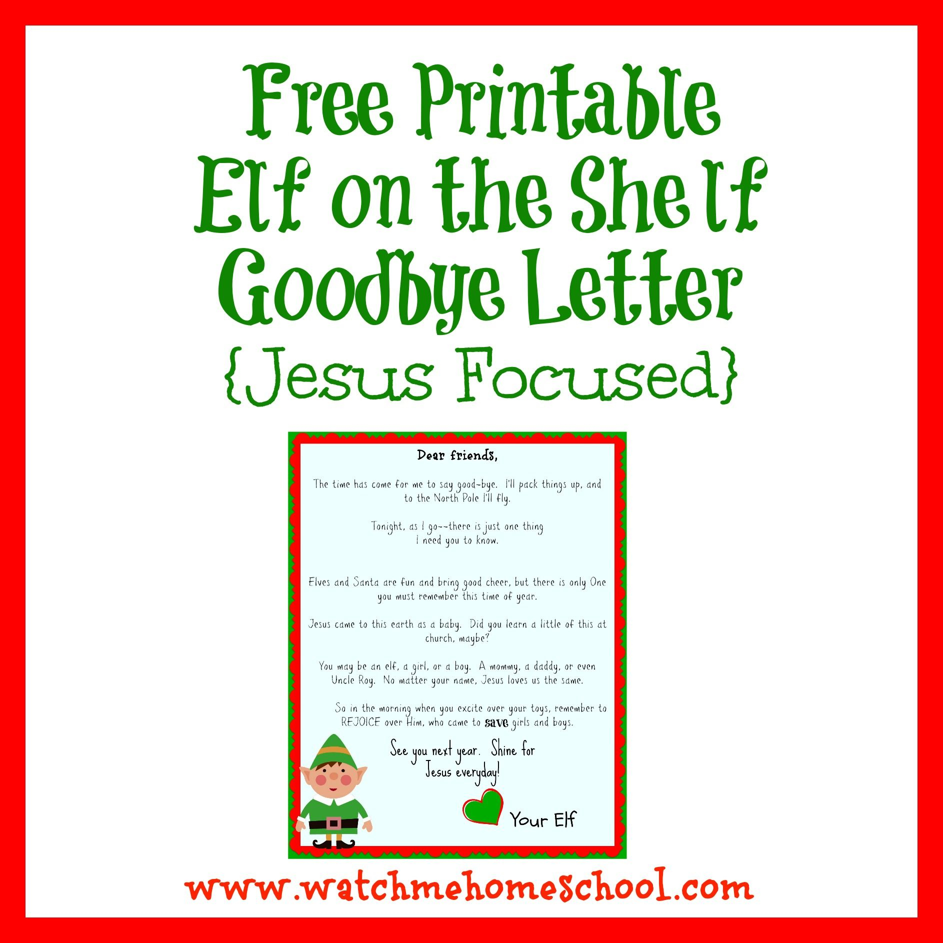 Elf On The Shelf Farewell Letter Printable | Elf On The Shelf - Elf On A Shelf Goodbye Letter Free Printable
