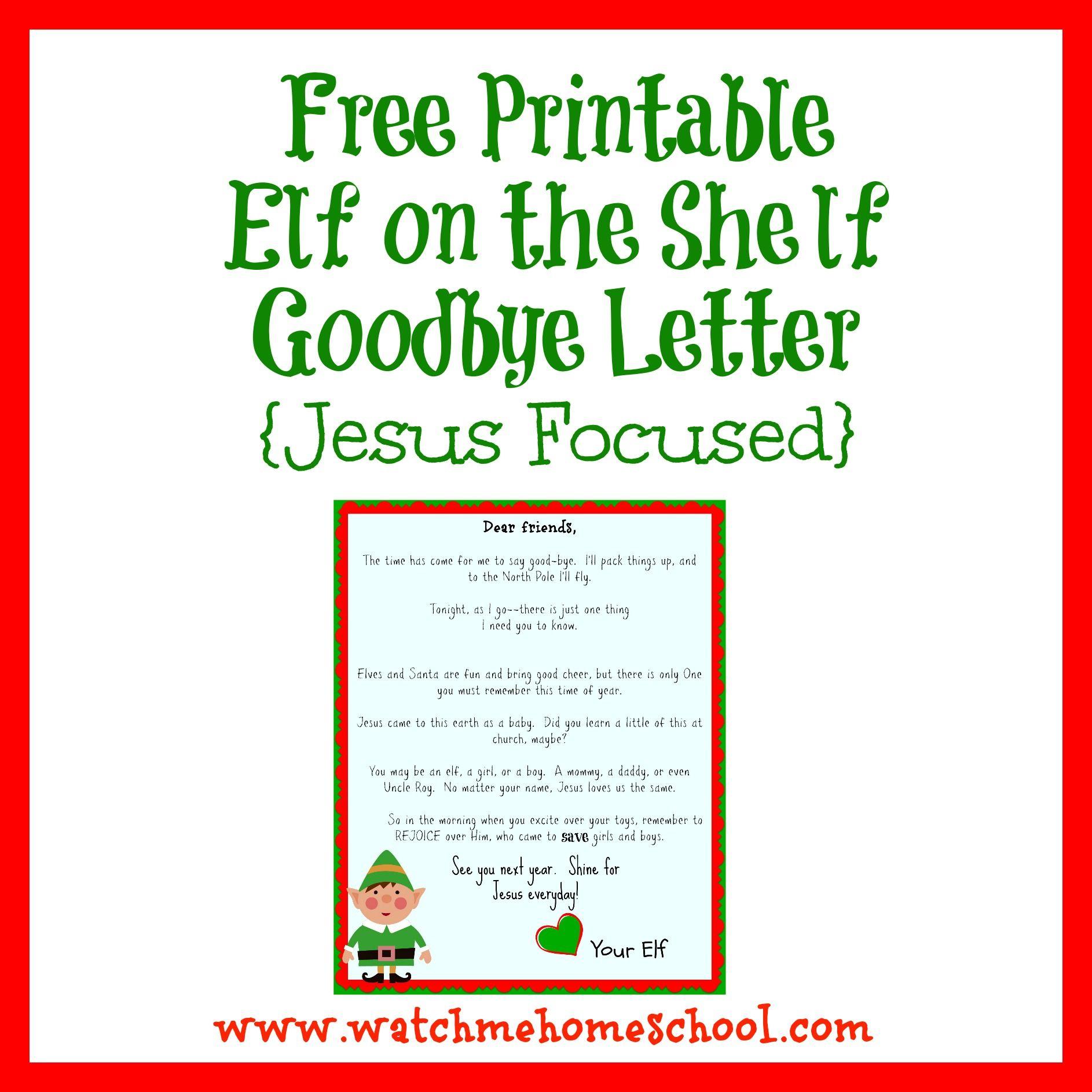 Elf On The Shelf Farewell Letter Printable   Elf On The Shelf - Elf On The Shelf Goodbye Letter Free Printable