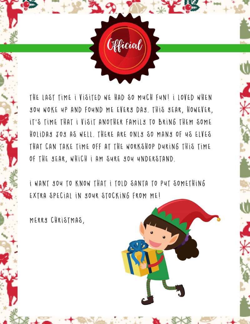Elf On The Shelf Goodbye Letter : Free Printable - - Elf On A Shelf Goodbye Letter Free Printable