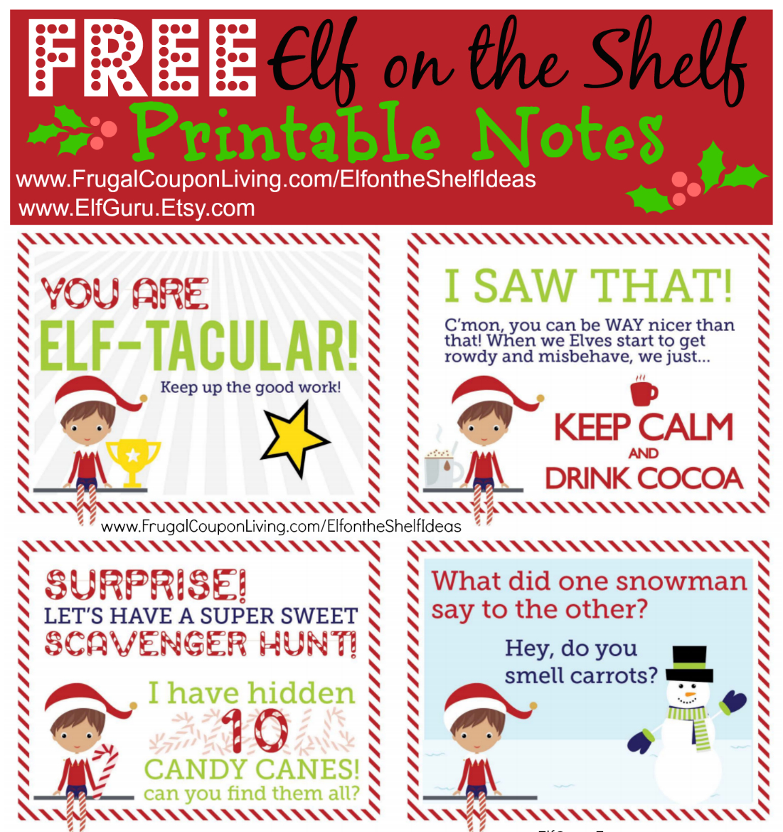 Elf On The Shelf Ideas   Free Elf Scavenger Hunt Note - Free Printable Elf On The Shelf Story