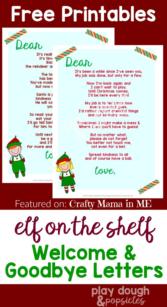 Elf On The Shelf Letters {Free Printables} - Crafty Mama In Me! - Elf On A Shelf Goodbye Letter Free Printable