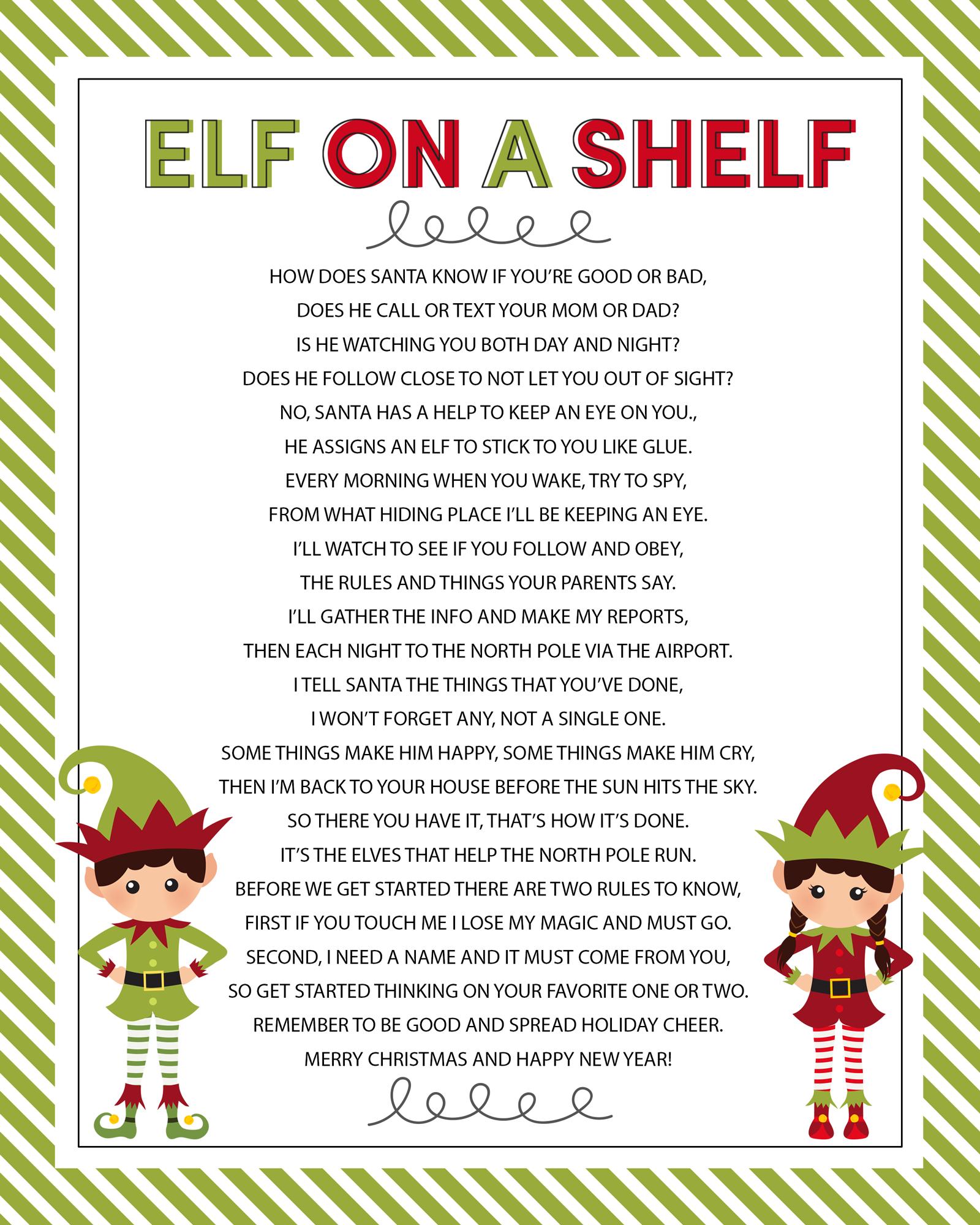 Elf On The Shelf Story - Free Printable Poem   Elf On Shelf Ideas - Free Printable Elf On The Shelf Story