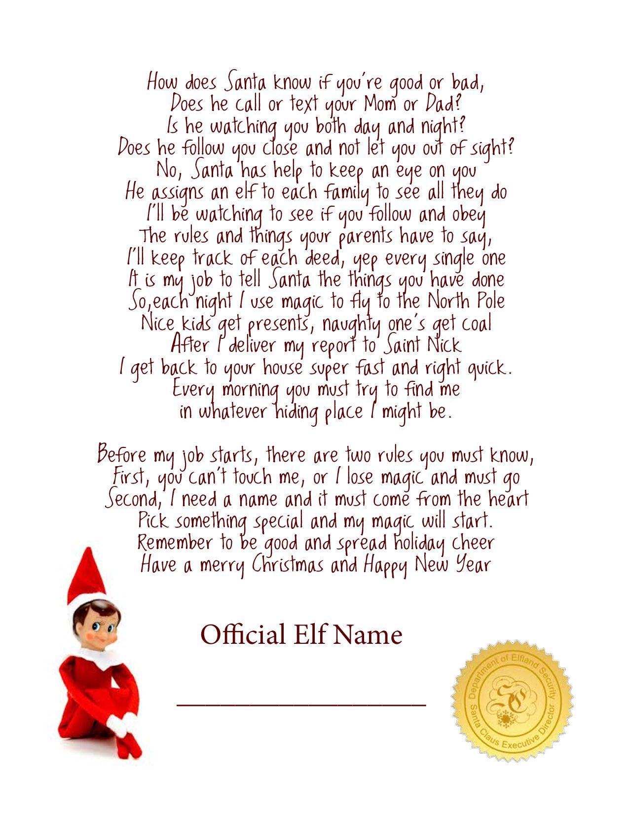 Elf On The Shelf Story - Free Printable Poem   Elf On The Shelf - Free Printable Elf On The Shelf Story