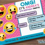 Emoji Birthday Card Template Emoji Invitations Printable Free   Free Printable Emoji B Day Invites