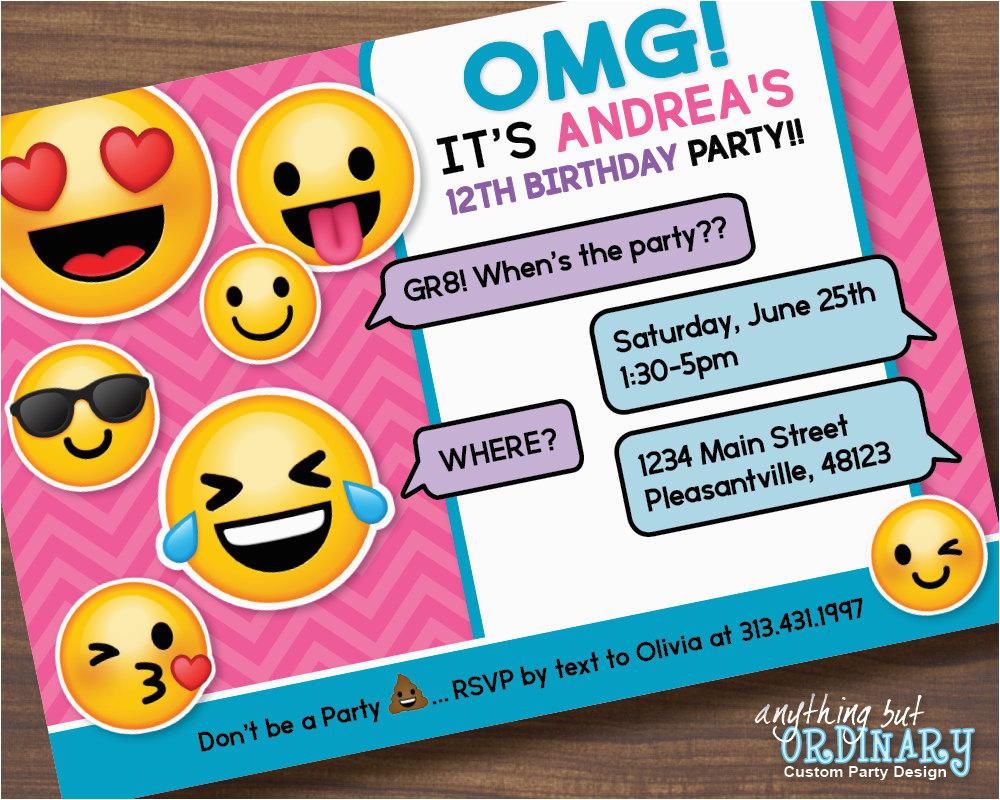 Emoji Birthday Card Template Emoji Invitations Printable Free - Free Printable Emoji B Day Invites