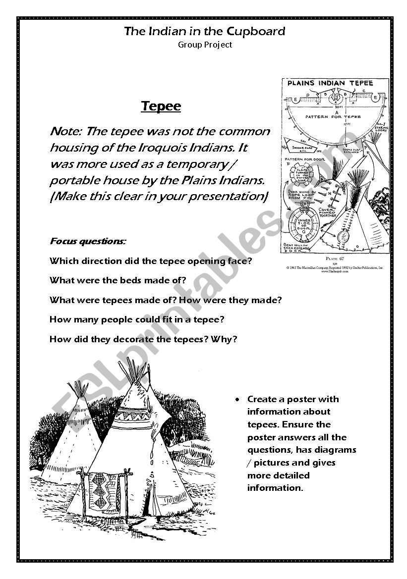 English Worksheets: The Indian In The Cupboard Project Part Two - Indian In The Cupboard Free Printable Worksheets