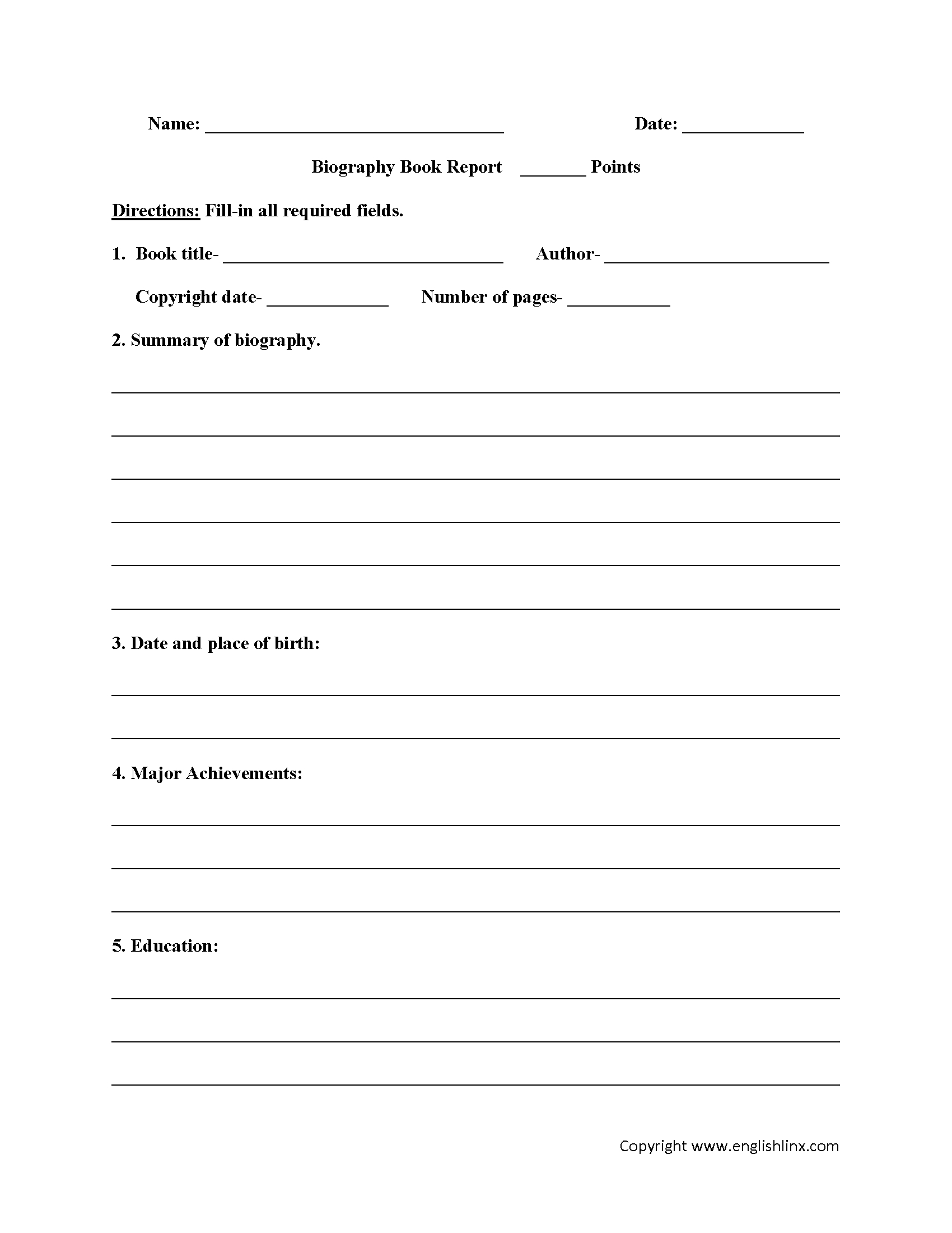 Englishlinx | Book Report Worksheets - Free Printable Book Report Forms For Elementary Students
