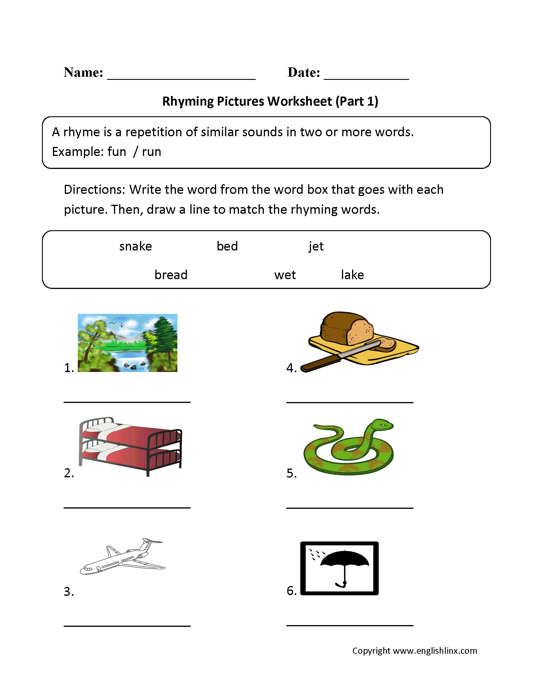 Englishlinx   Rhyming Worksheets - Free Printable Rhyming Words Worksheets