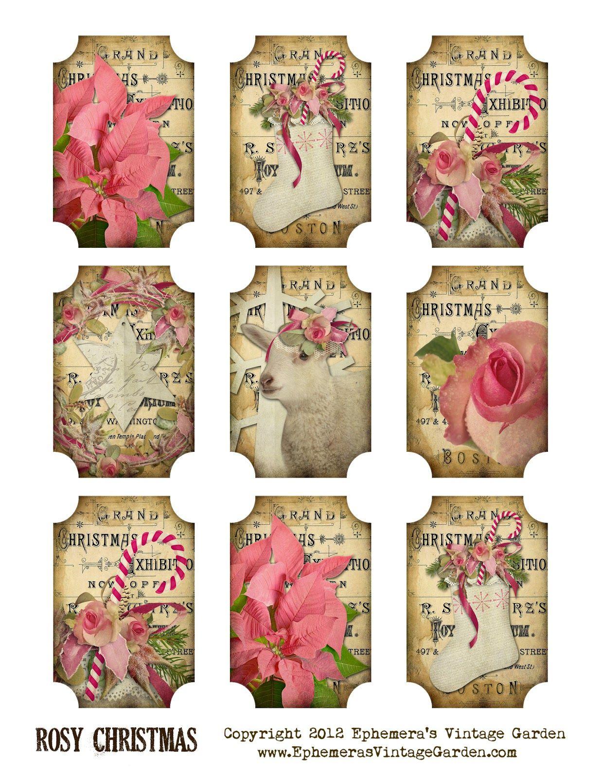 Ephemera's Vintage Garden: Free Printable: Rosy Christmas Gift Tags - Free Printable Vintage Christmas Tags For Gifts