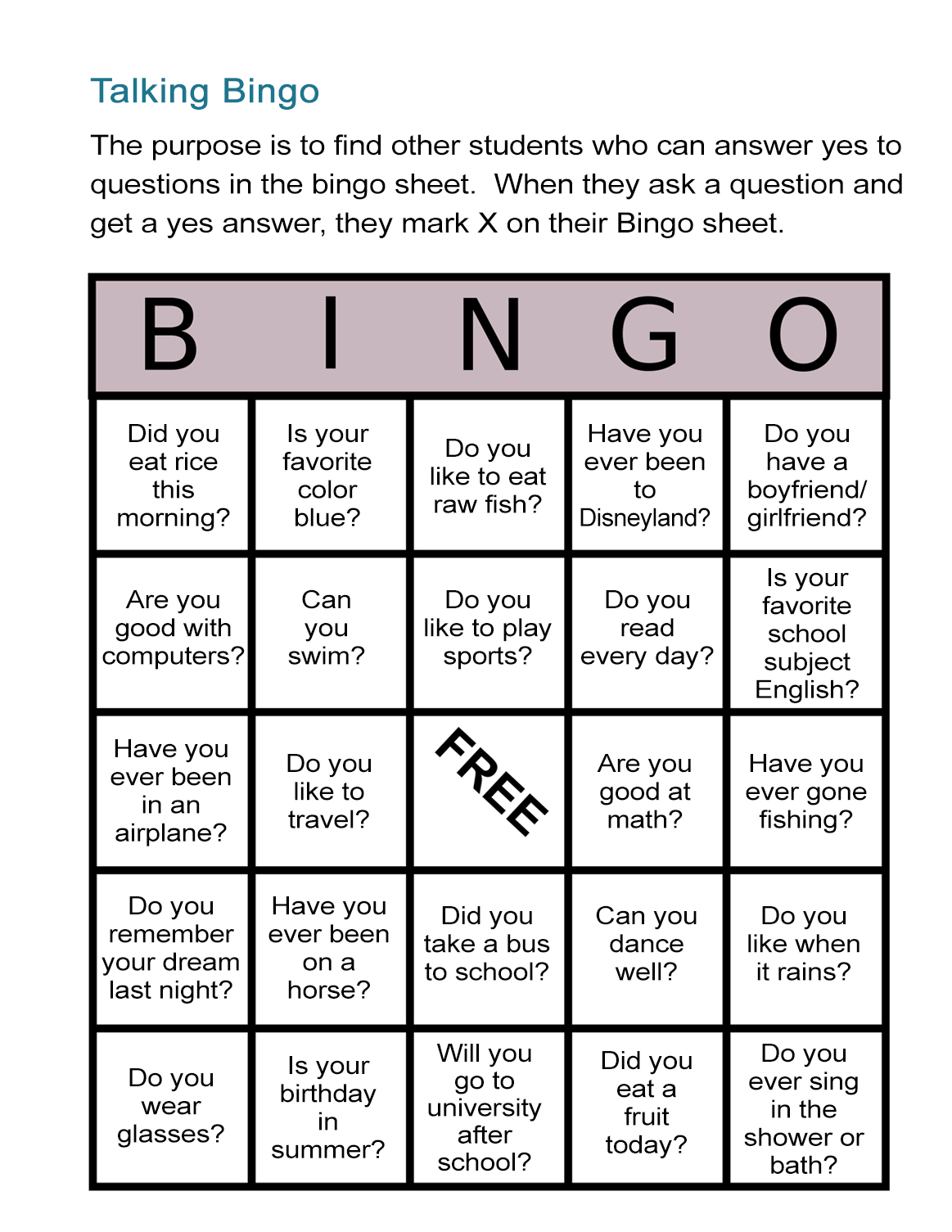 Esl Bingo Free Worksheet: Stand-Up Bingo - All Esl - Free Printable Esl Resources