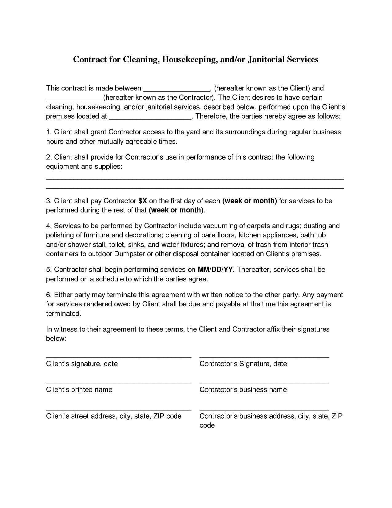 Exelent Contract Agreement Templates Gallery Documentation  Free - Free Printable Service Contract Forms