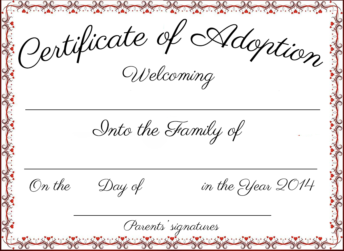 Fake Adoption Papers. Petition For Adoption Of Adultstepparent - Fake Adoption Certificate Free Printable
