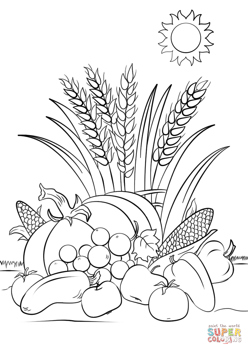 Fall Harvest Coloring Page | Free Printable Coloring Pages - Free Printable Coloring Pages Fall Season