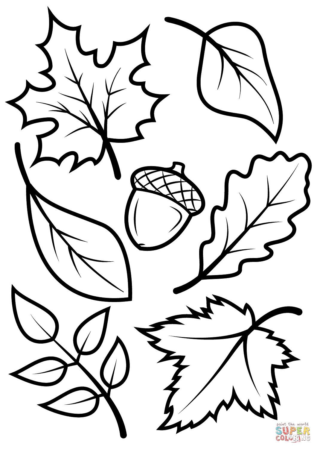 Fall Leaves And Acorn Coloring Page | Free Printable Coloring Pages - Acorn Template Free Printable