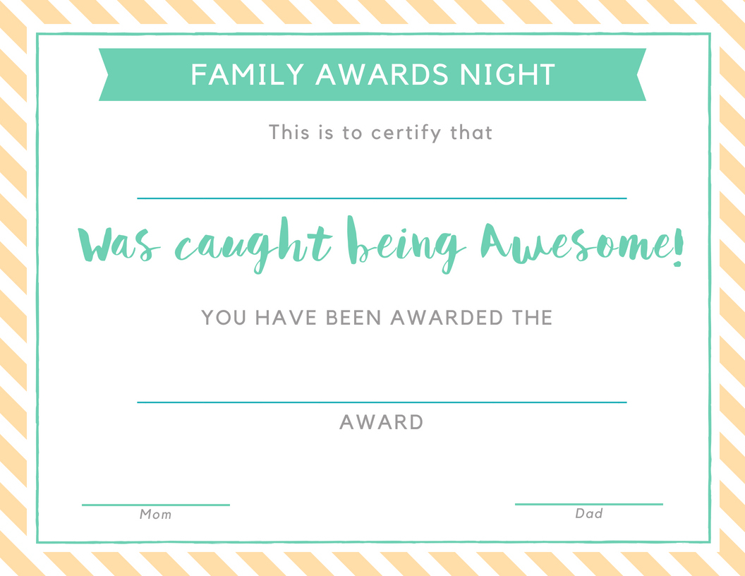 Family Awards Night: Giving Children A Sense Of Belonging - Free Printable Awards