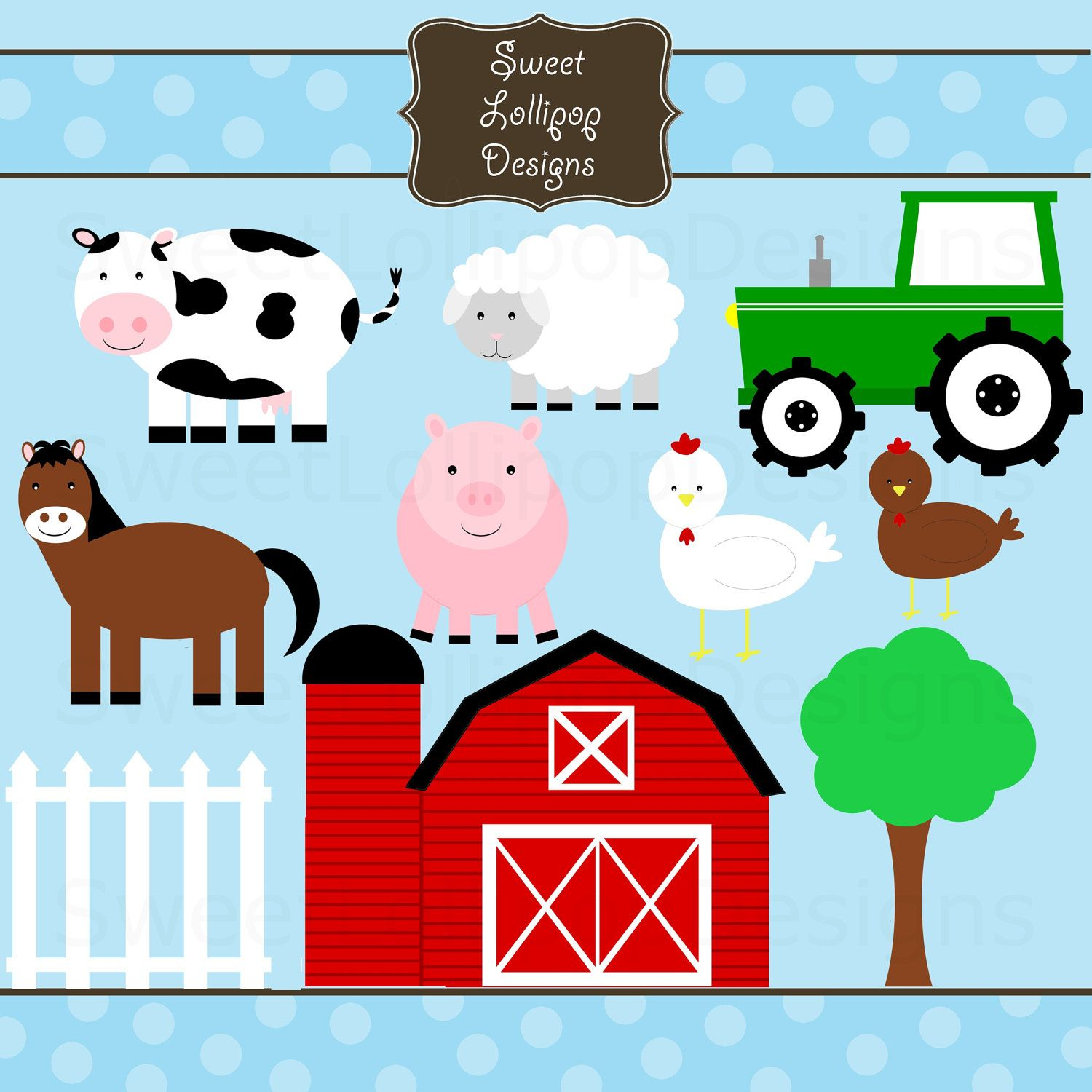 Farm Animal Free Printables | Farm Animals Digital Clip Art Clipart - Free Printable Farm Animal Pictures