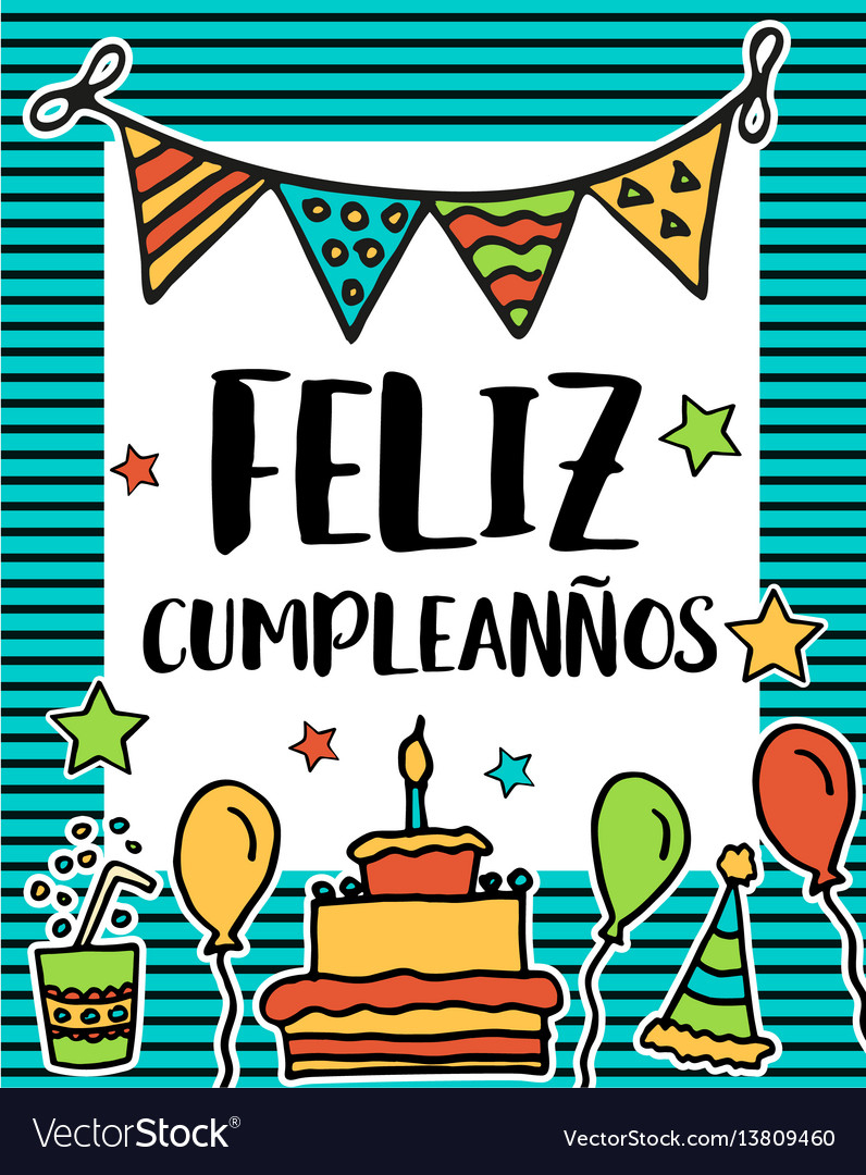 Feliz Cumpleanos Happy Birthday In Spanish Vector Image - Free Printable Happy Birthday Cards In Spanish
