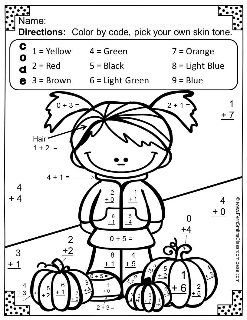 Fern Smith's Free Fall Fun! Basic Addition Facts - Color Your - Free Printable Fall Math Worksheets