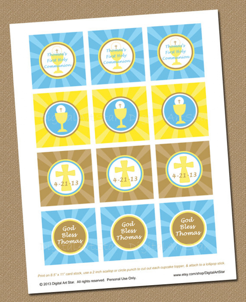 First Communion Cupcake Toppers - Personalized Printable 2 Inch With - Free Printable First Communion Cupcake Toppers