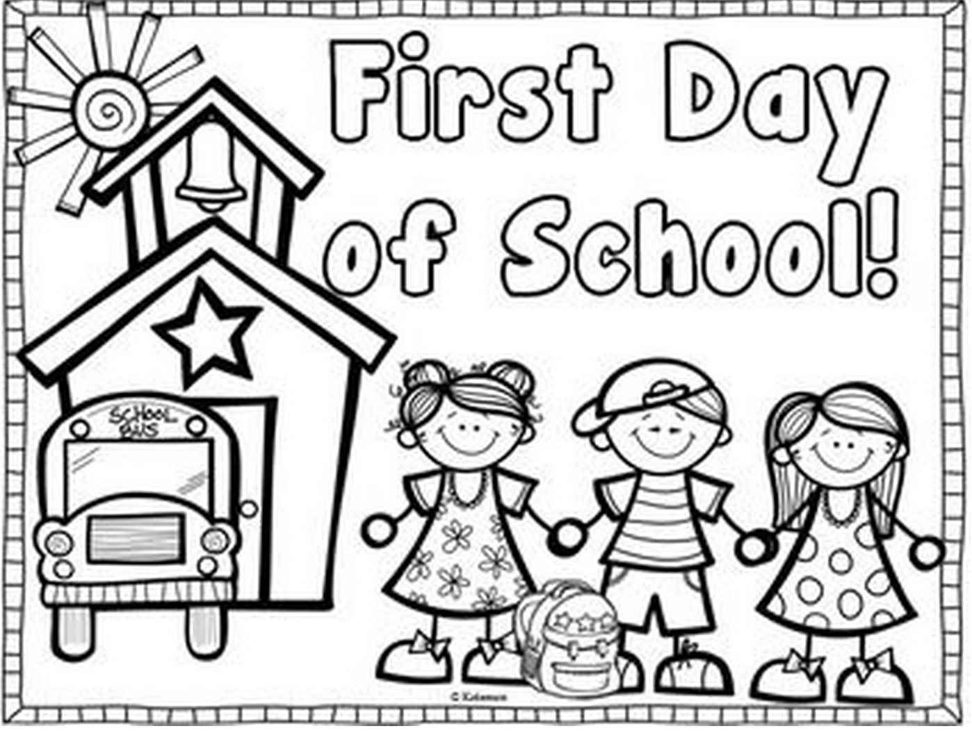 First Day Of School Coloring Page & Book For Kids. - Free Printable First Day Of School Coloring Pages