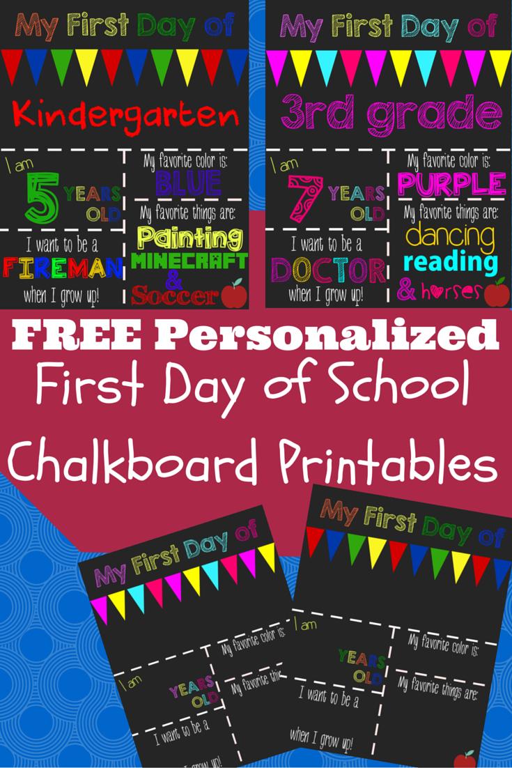 First Day Of School Printable Chalkboard Sign | School | Pinterest - Free Printable Custom Signs