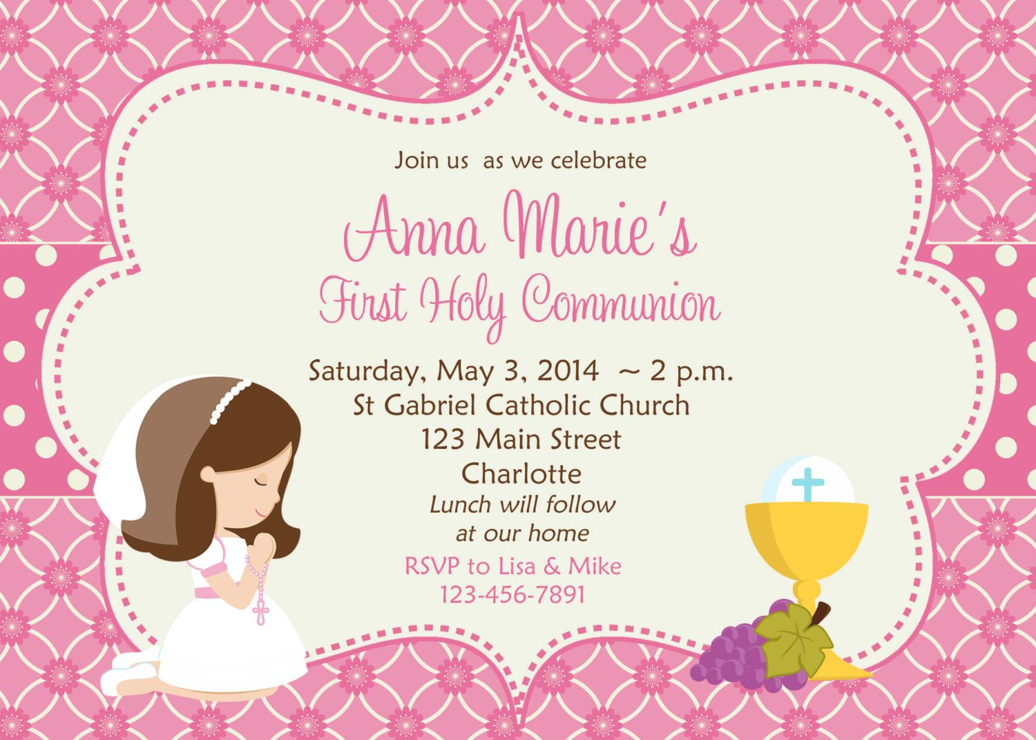 First Holy Communion Invitation Cards Free | First Communion Ideas - First Holy Communion Cards Printable Free