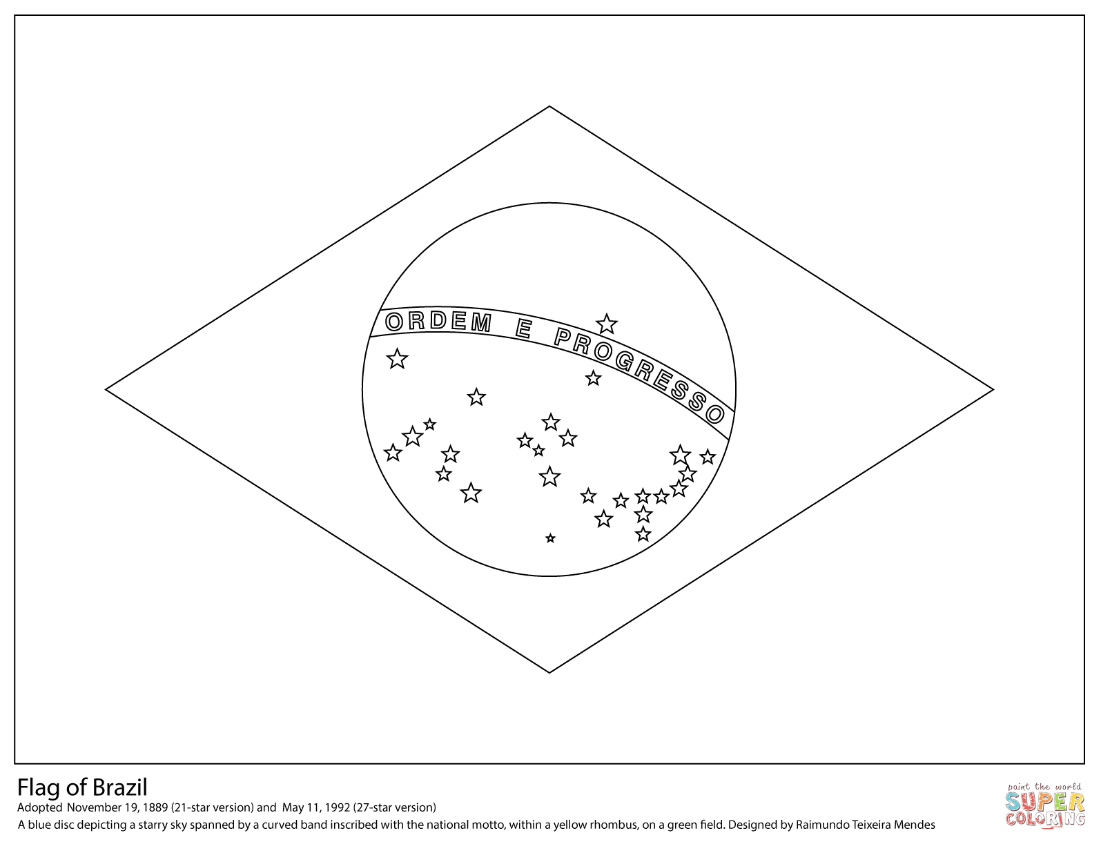 Flag Of Brazil Coloring Page | Free Printable Coloring Pages - Free Printable Blank Flag Template