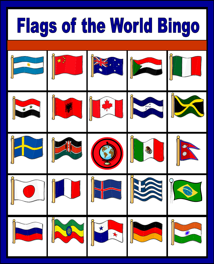 Flags Of The World Bingo - Free Printable (Only Enough For 6 Players - Free Printable Flags From Around The World