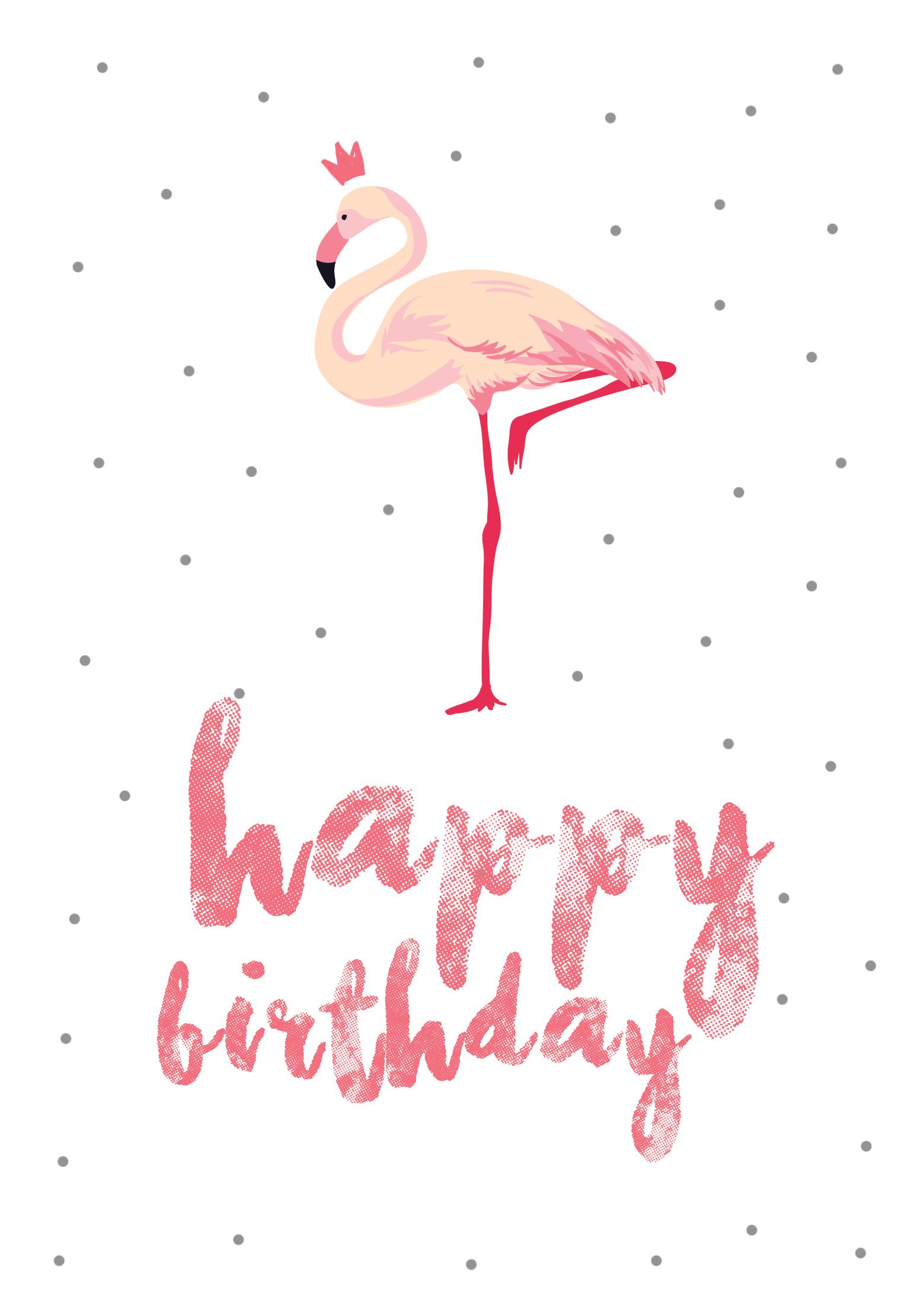 Flamingo Birthday - Free Printable Birthday Card   Greetings Island - Free Printable Thinking Of You Cards
