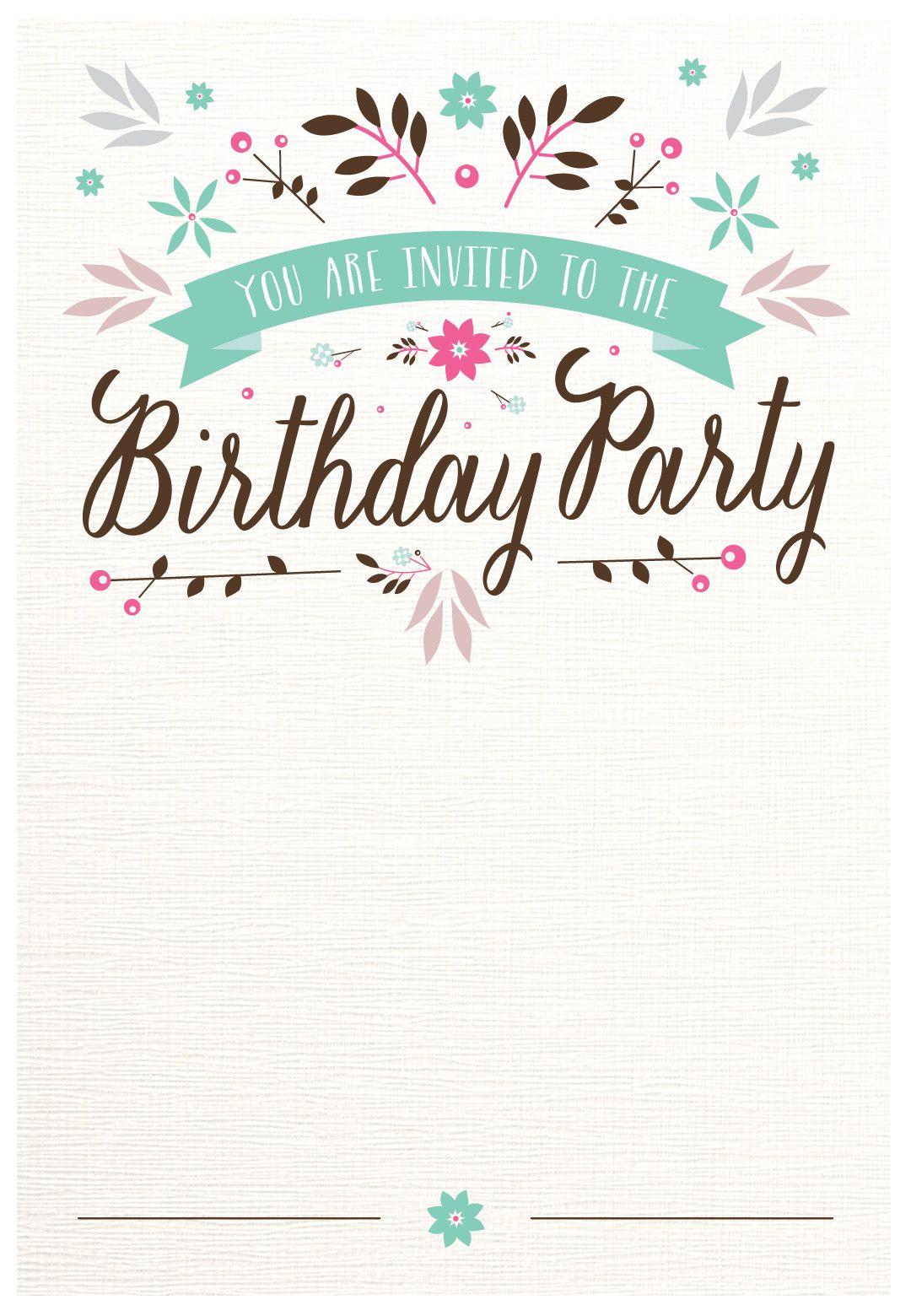 Flat Floral - Free Printable Birthday Invitation Template - Free Printable 18Th Birthday Invitations