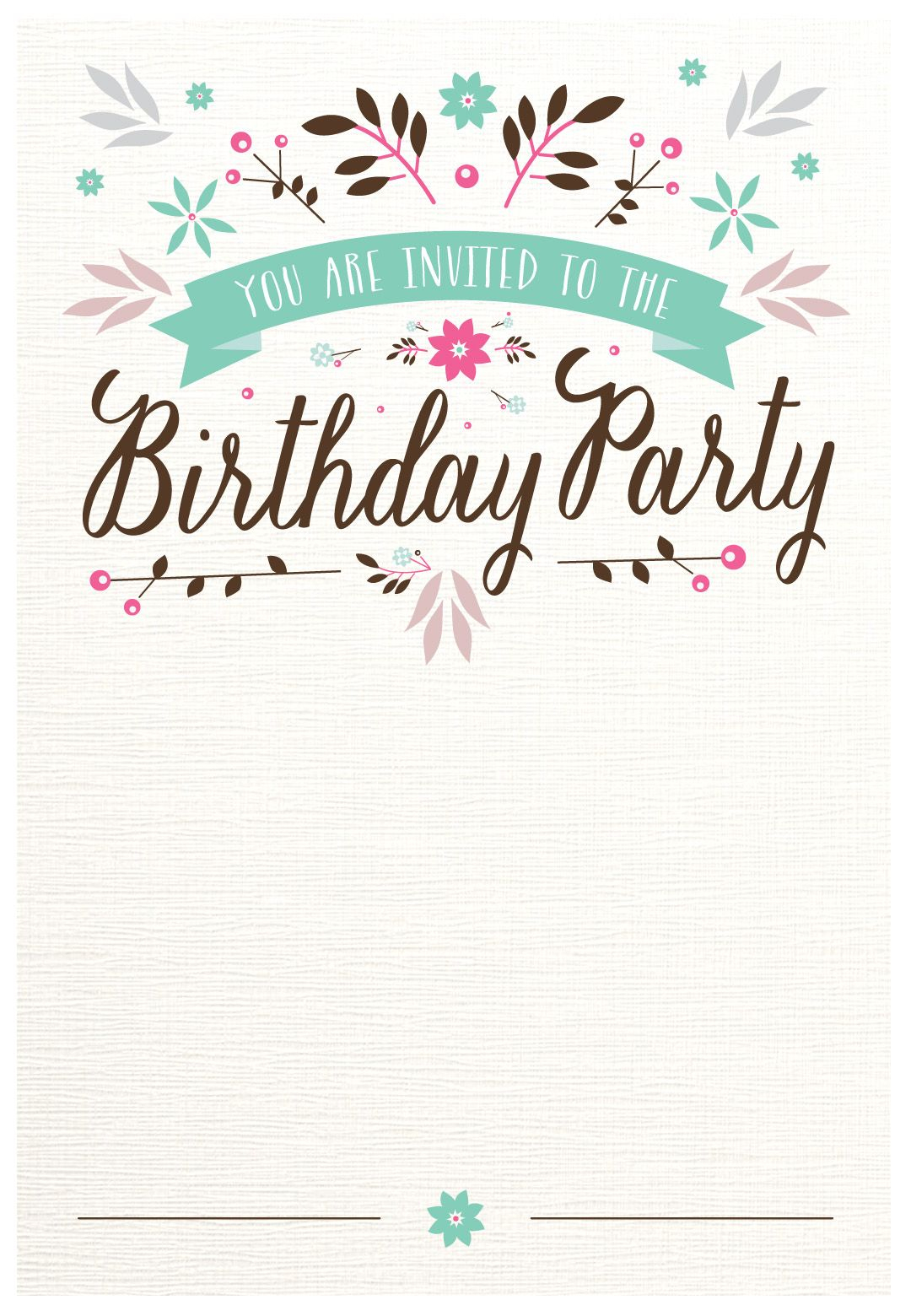 Flat Floral - Free Printable Birthday Invitation Template - Free Printable Birthday Invitation Cards