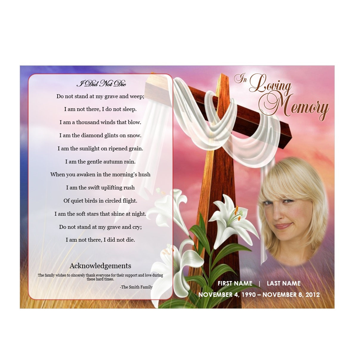 Floral Cross - Funeral Pamphlets - Free Printable Memorial Card Template