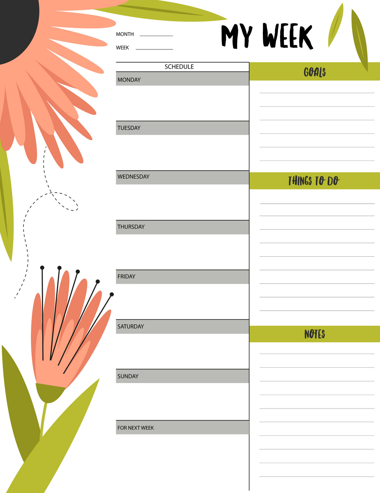 "Floral ""my Week"" Schedule & To-Do List Printable - Free Printable - Free Printable To Do List Planner"