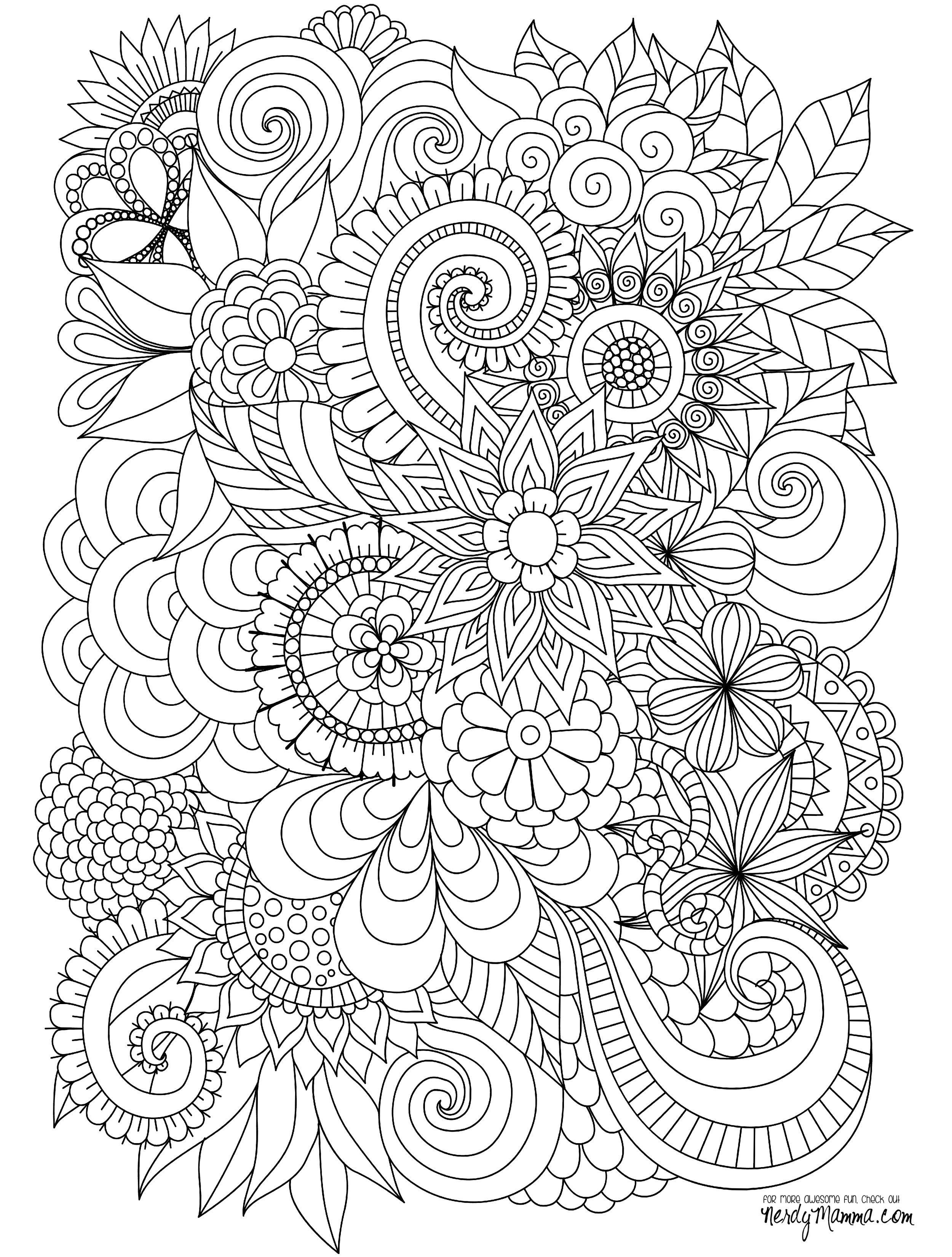 Flowers Abstract Coloring Pages Colouring Adult Detailed Advanced - Free Printable Flower Coloring Pages For Adults