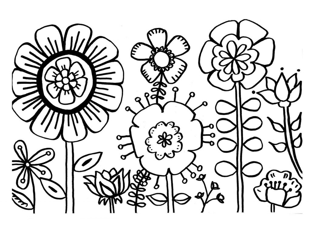 Flowers Coloring Pages Free Printable #6503 - Free Printable Flower Coloring Pages