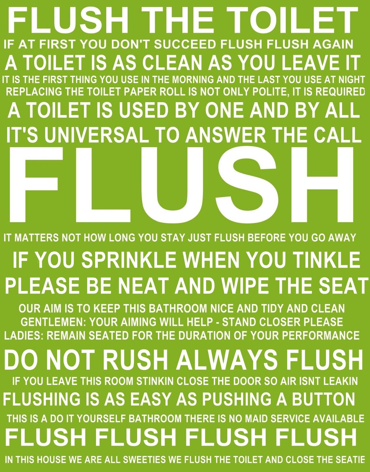Flush The Toilet Quotes And Sayings Free Printable | Bathroom - Free Printable Flush The Toilet Signs