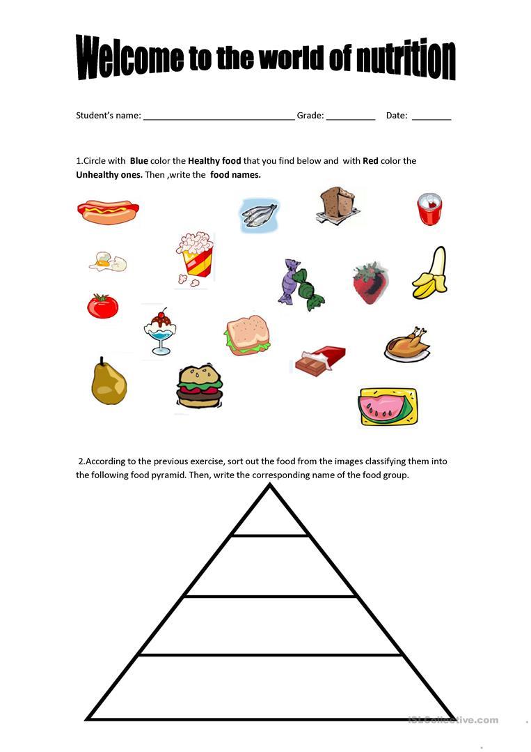 Food Pyramid - Healthy And Unhealthy Food. Worksheet - Free Esl - Free Printable Healthy Eating Worksheets