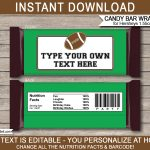 Football Hershey Candy Bar Wrappers | Personalized Candy Bars   Free Printable Birthday Candy Bar Wrappers
