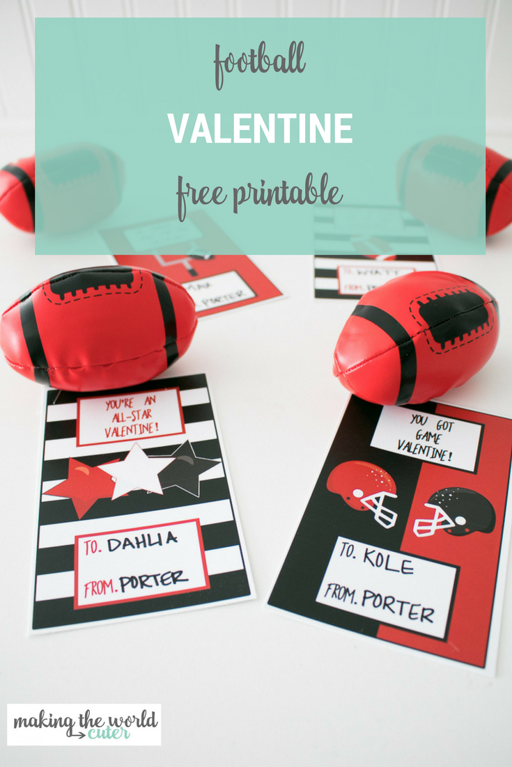 Football Valentine Cards To Print To Give With Football Toys - Free Printable Football Valentines Day Cards