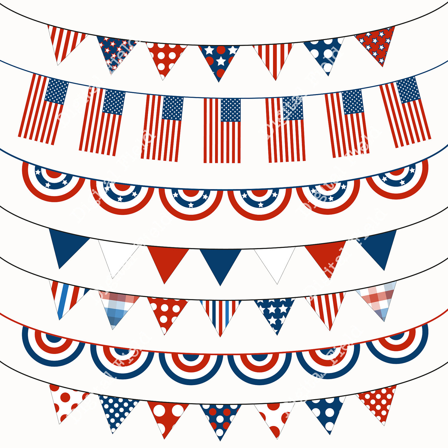 Fourth Of July Bunting Clipart - Free Printable Clipart For August