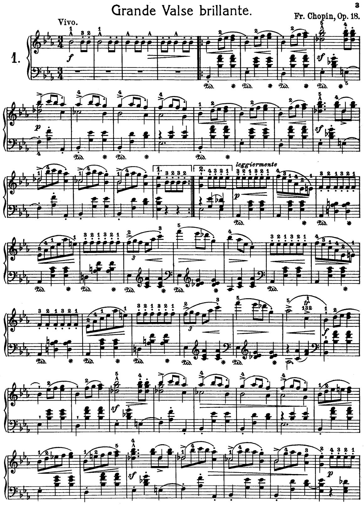 Frederic Chopin Grand Waltz Op.18 Free Printable Sheet Music | Music - Free Printable Sheet Music