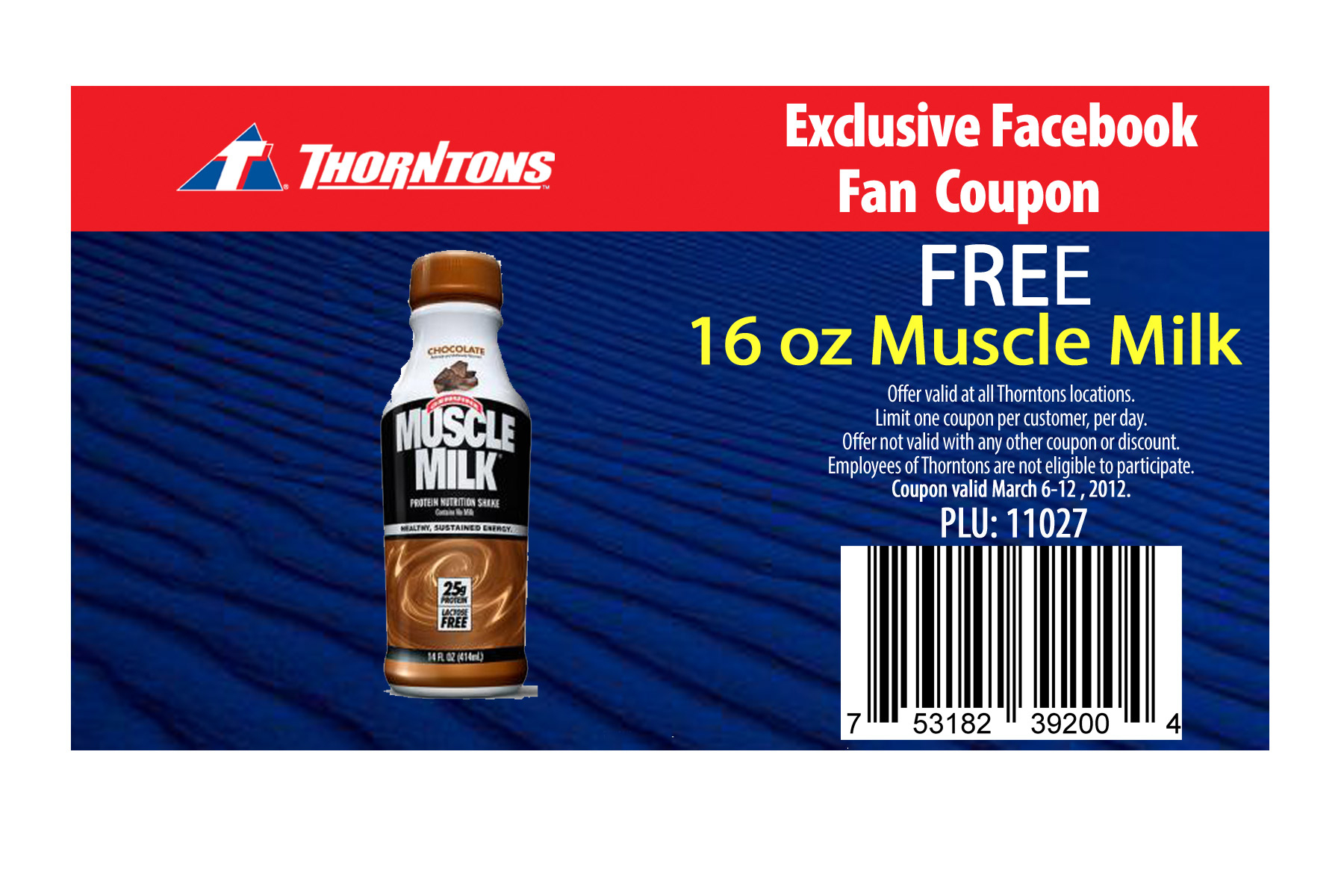Free 16 Oz Muscle Milk At Thorntons - Free Milk Coupons Printable