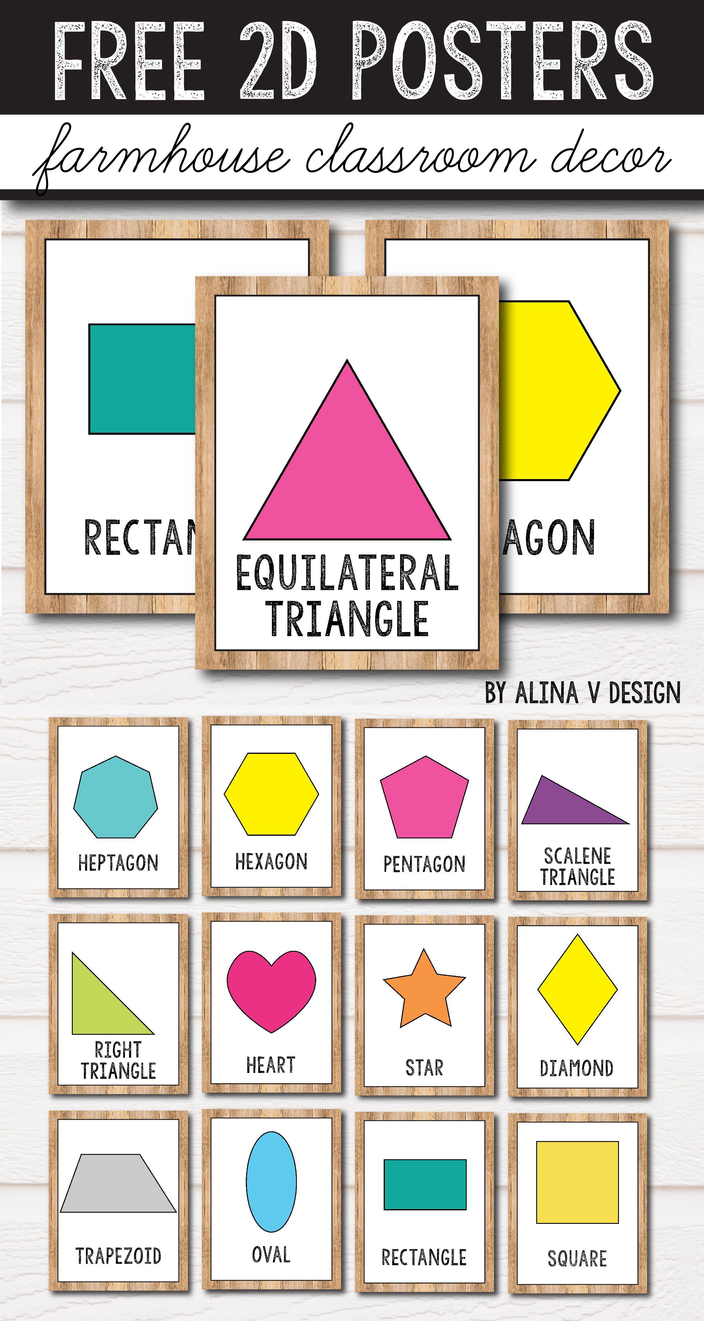 Free 2D Shape Posters - 3D Shape Posters - Farmhouse Classroom Decor - 3D Shape Bingo Free Printable